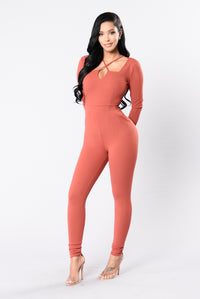All Eyes On You Jumpsuit - Marsala