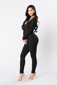 All Eyes On You Jumpsuit - Black