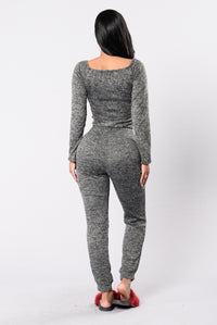 In The Middle Time Jumpsuit - Charcoal