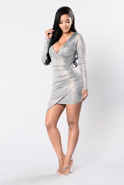 Hot Girl In Love Dress - Grey/Rose Gold