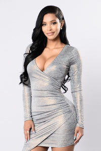Hot Girl In Love Dress - Grey/Rose Gold Angle 2