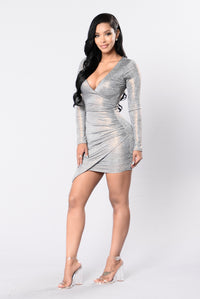 Hot Girl In Love Dress - Grey/Rose Gold Angle 4