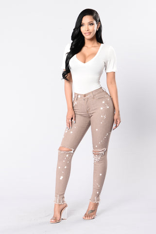 Crack A Bottle Jeans - Taupe