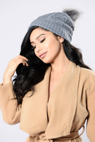 Knit With Love Beanie - Grey