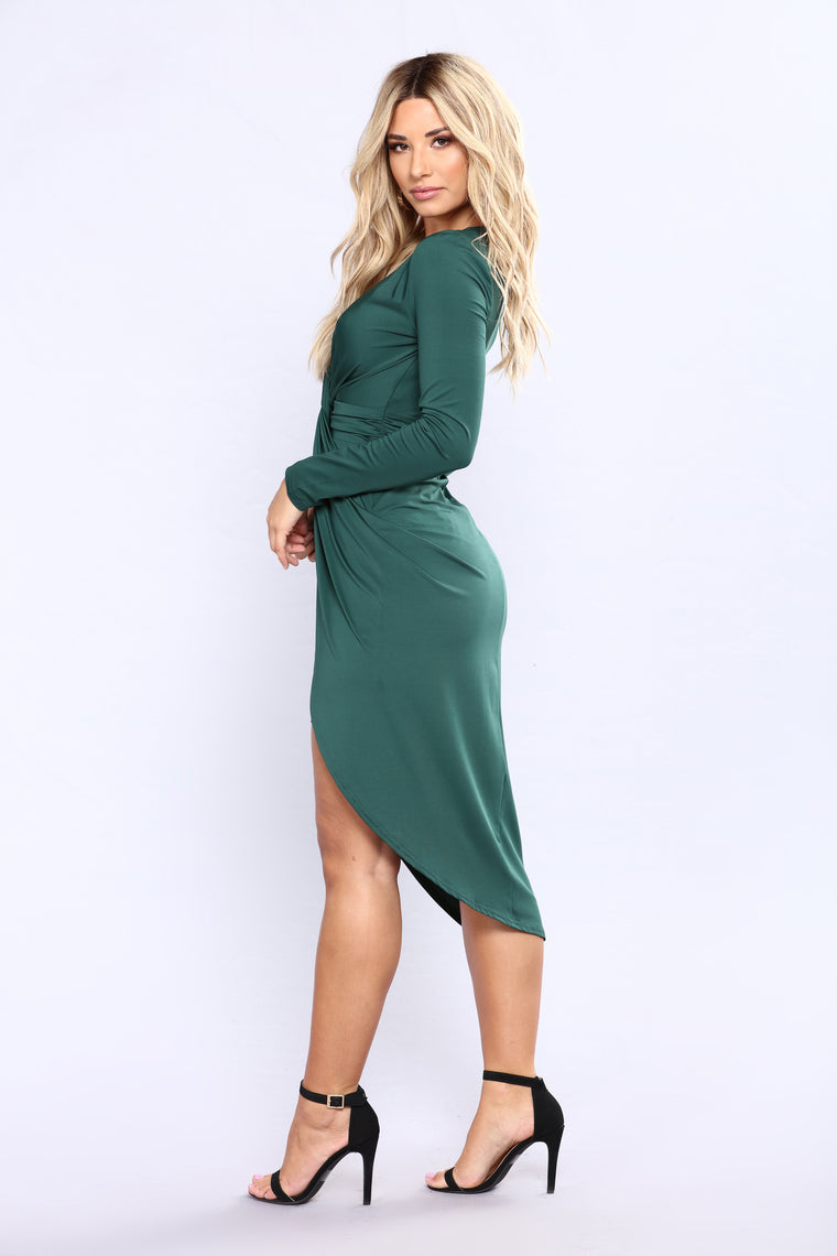Dianne Drape Dress - Hunter