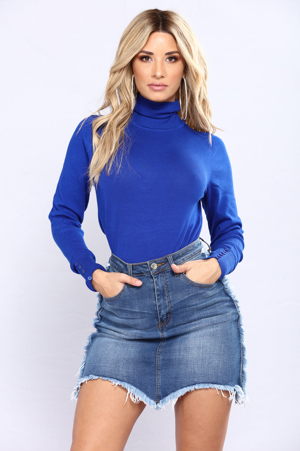 Elina Sweater Top - Royal Blue