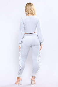 Kalissa Ruffle Velour Lounge Set - Grey