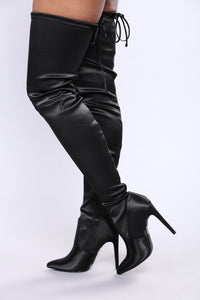 Francine Satin Over The Knee Boot - Black