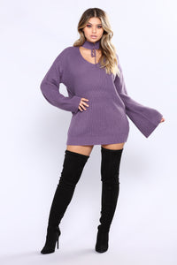 Corset Me Not Sweater - Dark Lilac