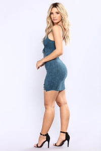She's Wired Suede Dress - Teal