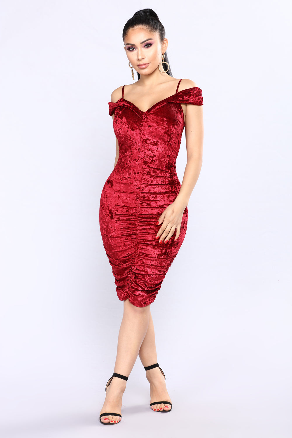 Beautiful Butterfly Velvet Dress - Burgundy
