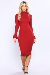 Get Comfortable Midi Dress - Red