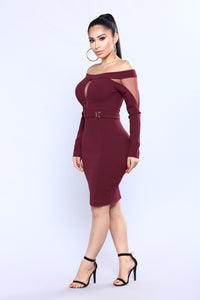Zaria Off Shoulder Dress - Burgundy