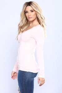 Sami V Neck Top - Blush
