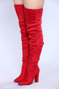 Delilah Over The Knee Slouch Boot - Red
