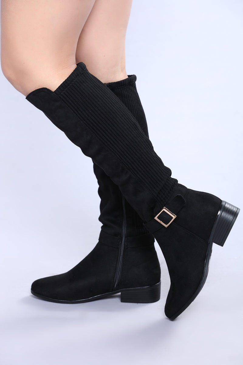 Alina Knee High Boot - Black