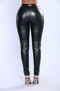 Night Rider Faux Leather Pants - Black