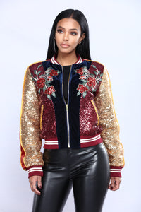 Fizz Sequin Jacket - Multi Wine