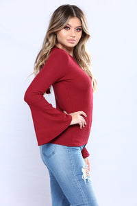 Saved By The Bell Sleeve Top - Burgundy
