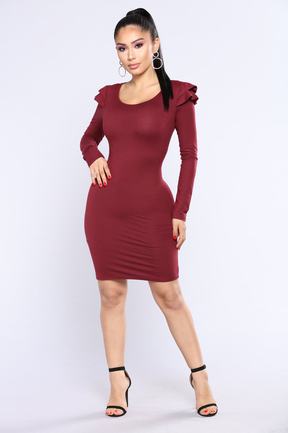 Bailee Ruffle Dress - Wine