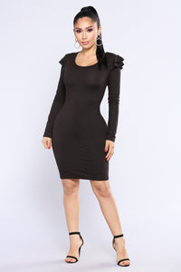 Bailee Ruffle Dress - Black