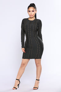 Crossed The Line Mini Dress - Black
