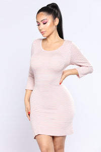 Iesha Stripe Dress - Mauve/White