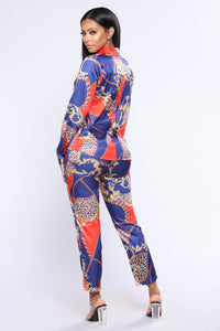 House Of Miami Printed Set - Navy/Red
