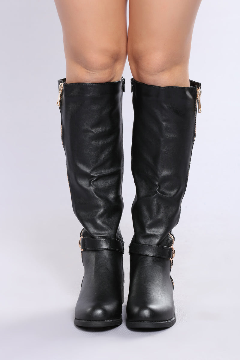 Tessa Knee High Boot - Black