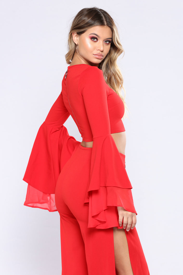 Caroline Ruffle Pants Set - Red