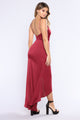 Festivity Asymmetric Dress - Burgundy