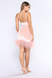 High School Reunion Feather Dress - Blush Angle 3