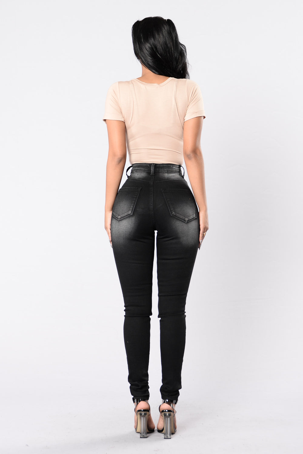 Thigh Pressure Jeans - Black