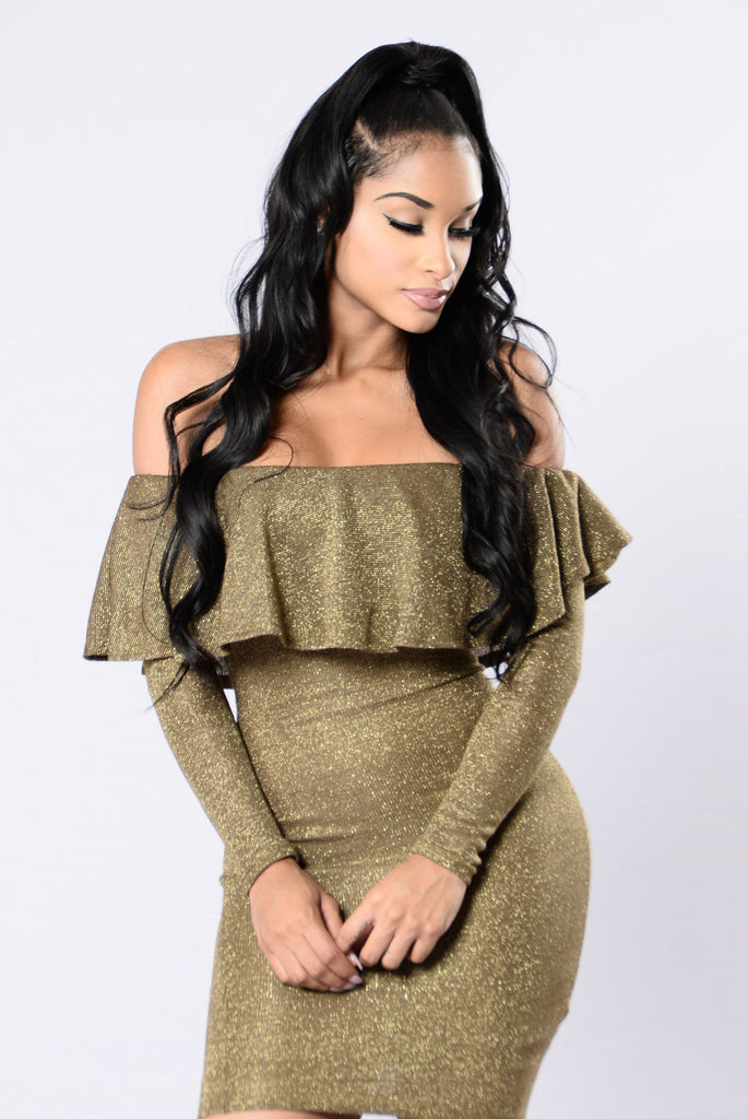 Wish You Were Mine Dress - Gold