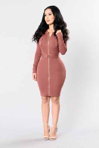 Tied To You Dress - Dusty Rose