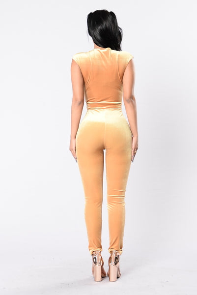 Cocoa Better Kisses Jumpsuit - Gold