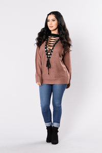 No Patience Sweater - Red Brown