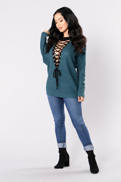 No Patience Sweater - Teal