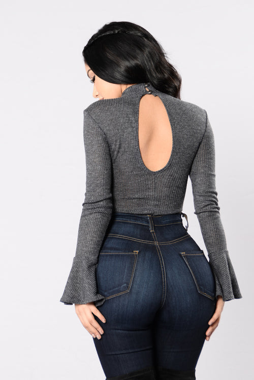 Nothing Easy To Please Bodysuit - Charcoal