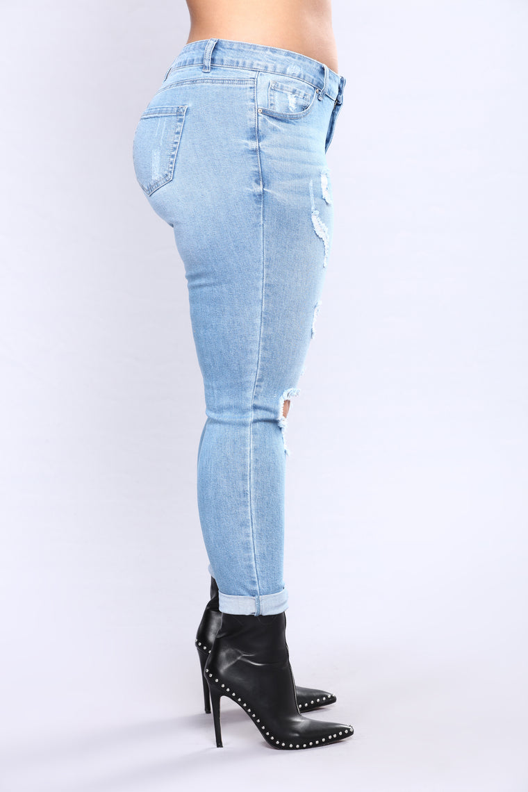 Kneed You Now Skinny Jeans - Light Blue Wash