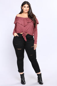 Knot It Ruffle Top - Mauve