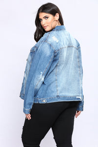 Over And Out Denim Jacket - Medium Blue Wash