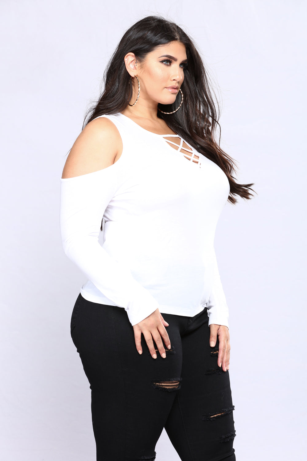 Milano Lace Up Top - White