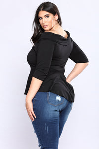 Forever Tonight Peplum Top - Black