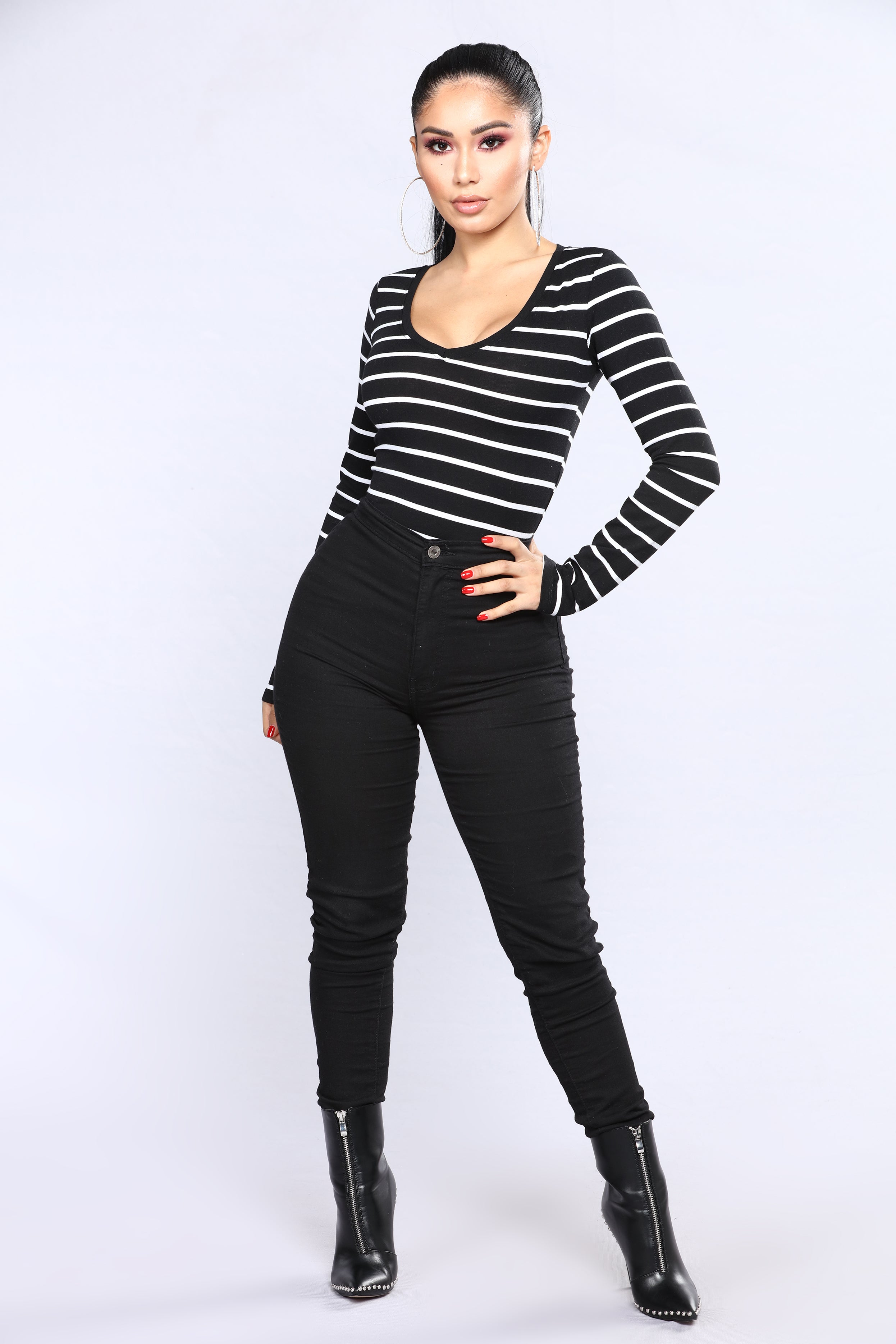 4f73be2594 Your Everyday Long sleeve Striped Tee - Black White