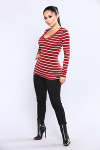 Your Everyday Long sleeve Striped Tee - Burgundy/Combo