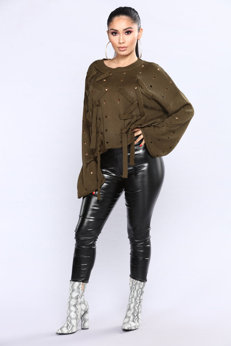 Criss Cross Me Sweater - Olive