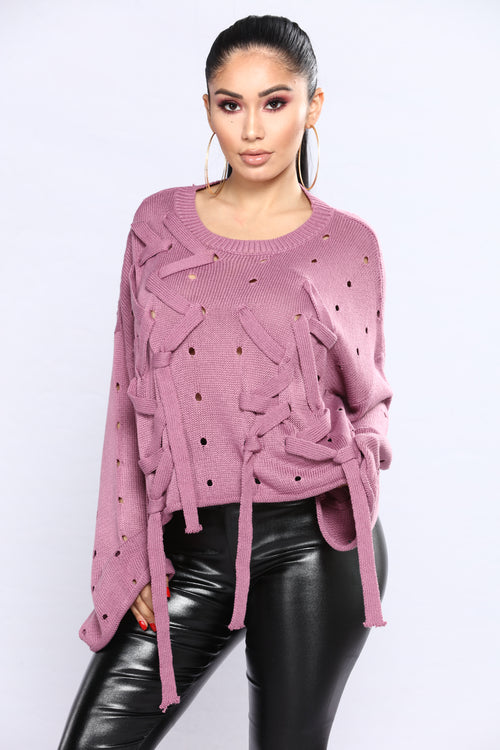 Criss Cross Me Sweater - Mauve