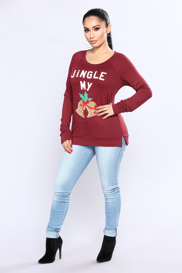 Jingle My Bells Top - Burgundy