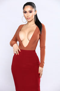 Timing Is Everything Bodysuit - Brick Red